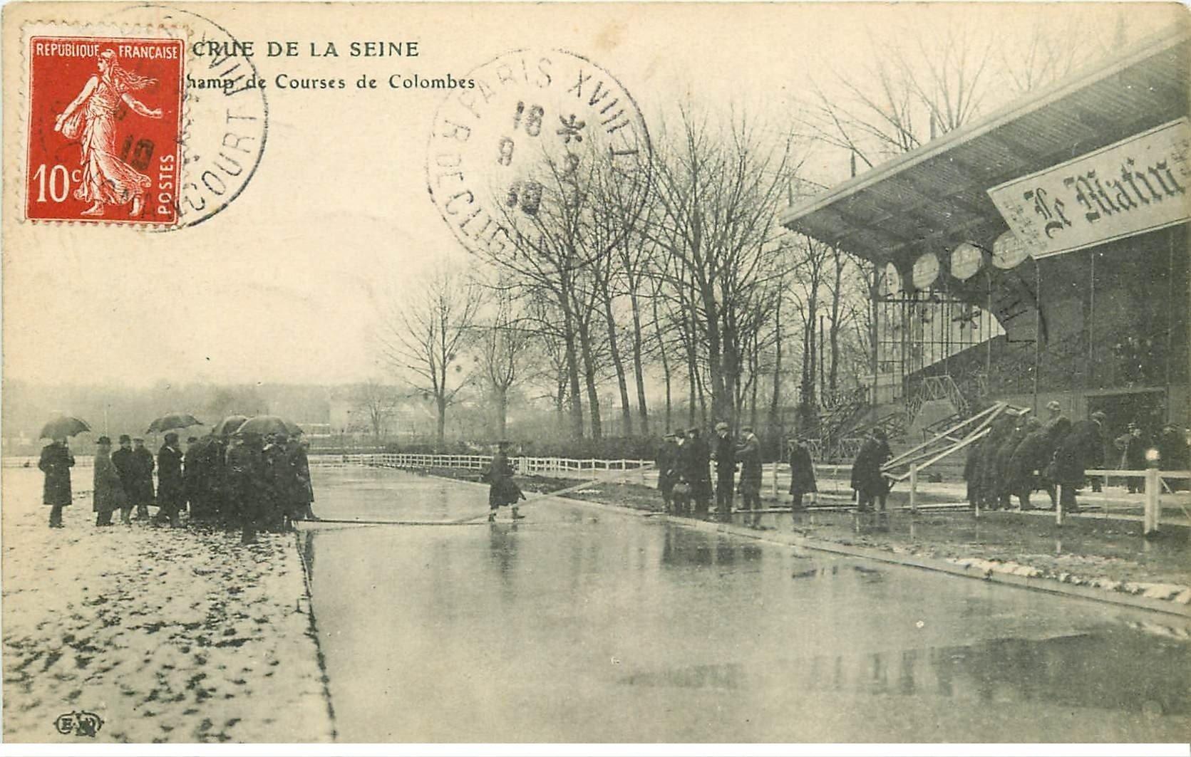 Inondations et Crue de 1910. COLOMBES 92. Champ de Courses Hippodrome