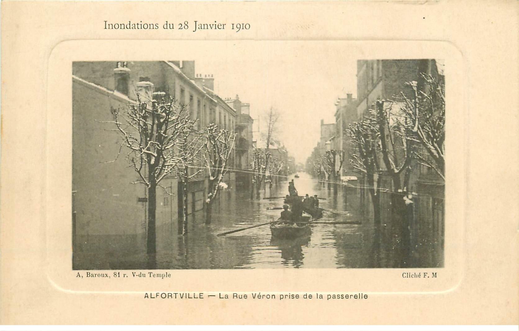 carte postale ancienne Inondation et Crue de 1910. ALFORTVILLE 94. Rue Véron