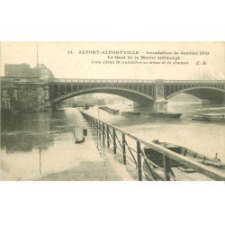 carte postale ancienne Inondation et Crue de 1910. ALFORT ALFORVILLE 94. Quai de la Marne