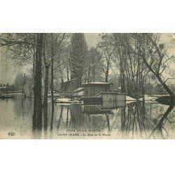 carte postale ancienne Inondation et Crue de 1910. SAINT-MAUR 94. Quai de la Marne