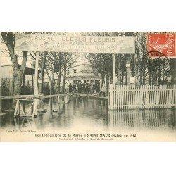 Inondation et Crue de 1910. SAINT-MAUR 94. Quai de Bonneuil Restaurant Colombo Aux 40 Tilleuls fleuris