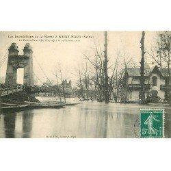 carte postale ancienne Inondation et Crue de 1910. SAINT-MAUR 94. Passerelle et Ile Machefer