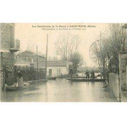 carte postale ancienne Inondation et Crue de 1910. SAINT-MAUR 94. Villa Schacken Rue Pinet Restaurant Coulomb