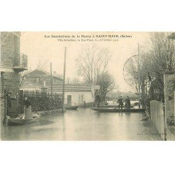 Inondations et Crue de 1910. SAINT-MAUR 94. Villa Schacken Rue Pinet Restaurant Coulomb