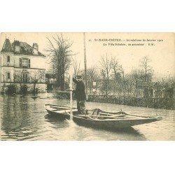 carte postale ancienne Inondation et Crue de 1910. SAINT-MAUR CRETEIL 94. Villa Schacken Sauveteur. Tampon Legoy