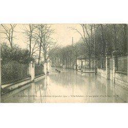carte postale ancienne Inondation et Crue de 1910. SAINT-MAUR CRETEIL 94. Villa Schacken. Tampon Legoy Le Havre