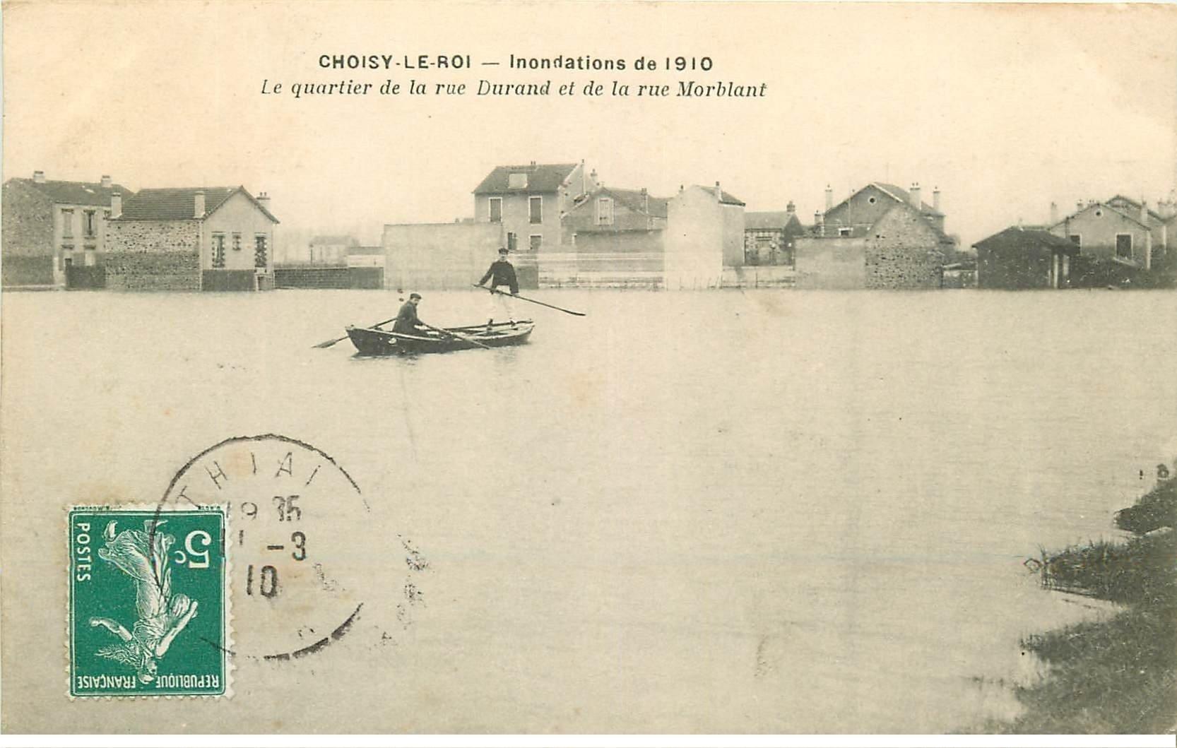 Inondations et Crue de 1910. CHOISY-LE-ROI 94. Quartier Rue Durand et Morblant