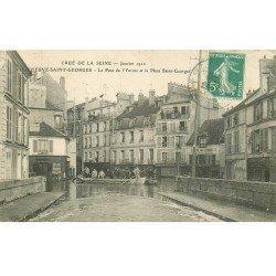 Inondations et Crue de 1910. VILLENEUVE-SAINT-GEORGES. Place Saint-Georges 94. Pont Yerres. Hôtel du Petit Matelot...