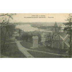 carte postale ancienne Inondation et Crue de 1910. VILLENEUVE-SAINT-GEORGES 94. Panorama