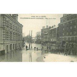 carte postale ancienne Inondation et Crue de 1910. VILLENEUVE-SAINT-GEORGES 94. Place de la Gare Pharmacie