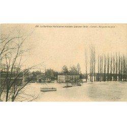 carte postale ancienne Inondation et Crue de 1910. CRETEIL 94. Baignade du Pont. Bouillon Kub