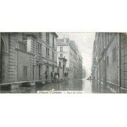carte postale ancienne Inondation et Crue de PARIS 1910. Rue de Lille. Carte mignonette 13.5 x 7 cm