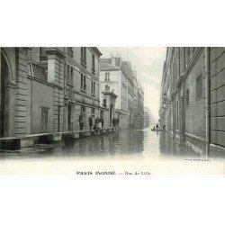 carte postale ancienne Inondation et Crue de PARIS 1910. Rue de Lille. Carte mignonette 1' x 8 cm. Lait Appenzell
