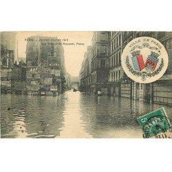 Inondation et Crue de PARIS 1910. Rue Théophile Roussel et Passy