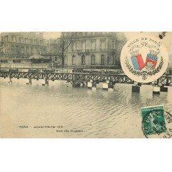 carte postale ancienne Inondation et Crue de PARIS 1910. Gare des Invalides. Edition B.G