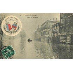 carte postale ancienne Inondation et Crue de PARIS 1910. Quai de la Rapée Hôtel des Deux Perdrix. Edition B.G