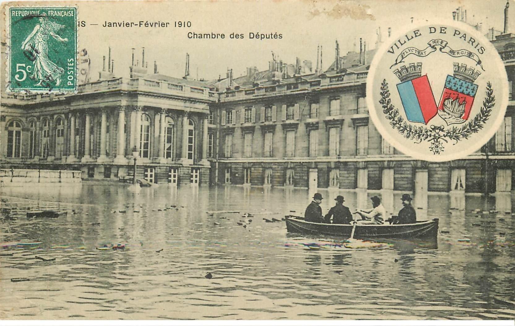Inondation et Crue de PARIS 1910. Chambre des Députés. Edition B.G