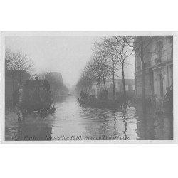 carte postale ancienne Inondation et Crue de PARIS 1910. Attelage Avenue Félix-Faure. Carte Photo Ed. Rose