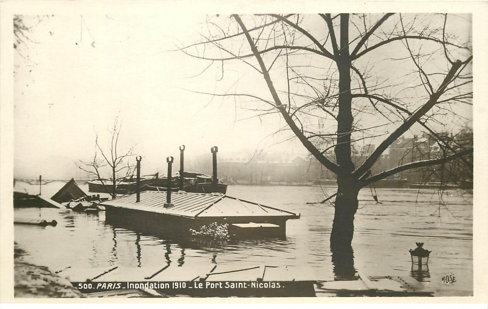 carte postale ancienne INONDATION ET CRUE PARIS 1910. Port Saint-Nicolas