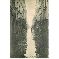 carte postale ancienne INONDATION ET CRUE PARIS 1910. Rue Saint-André des Arts