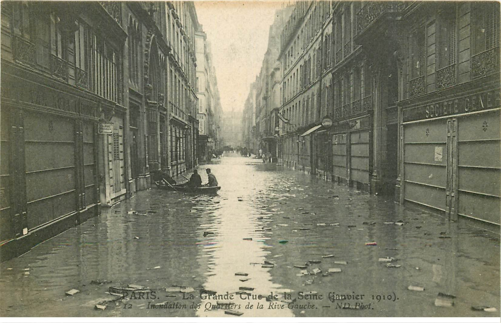 carte postale ancienne INONDATION ET CRUE PARIS 1910. Quartiers Rive Gauche
