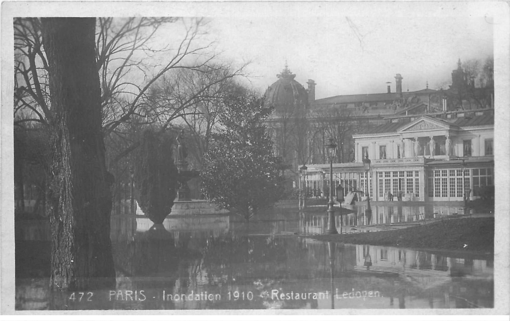 carte postale ancienne INONDATION ET CRUE PARIS 1910. Restaurant Ledoyen 472