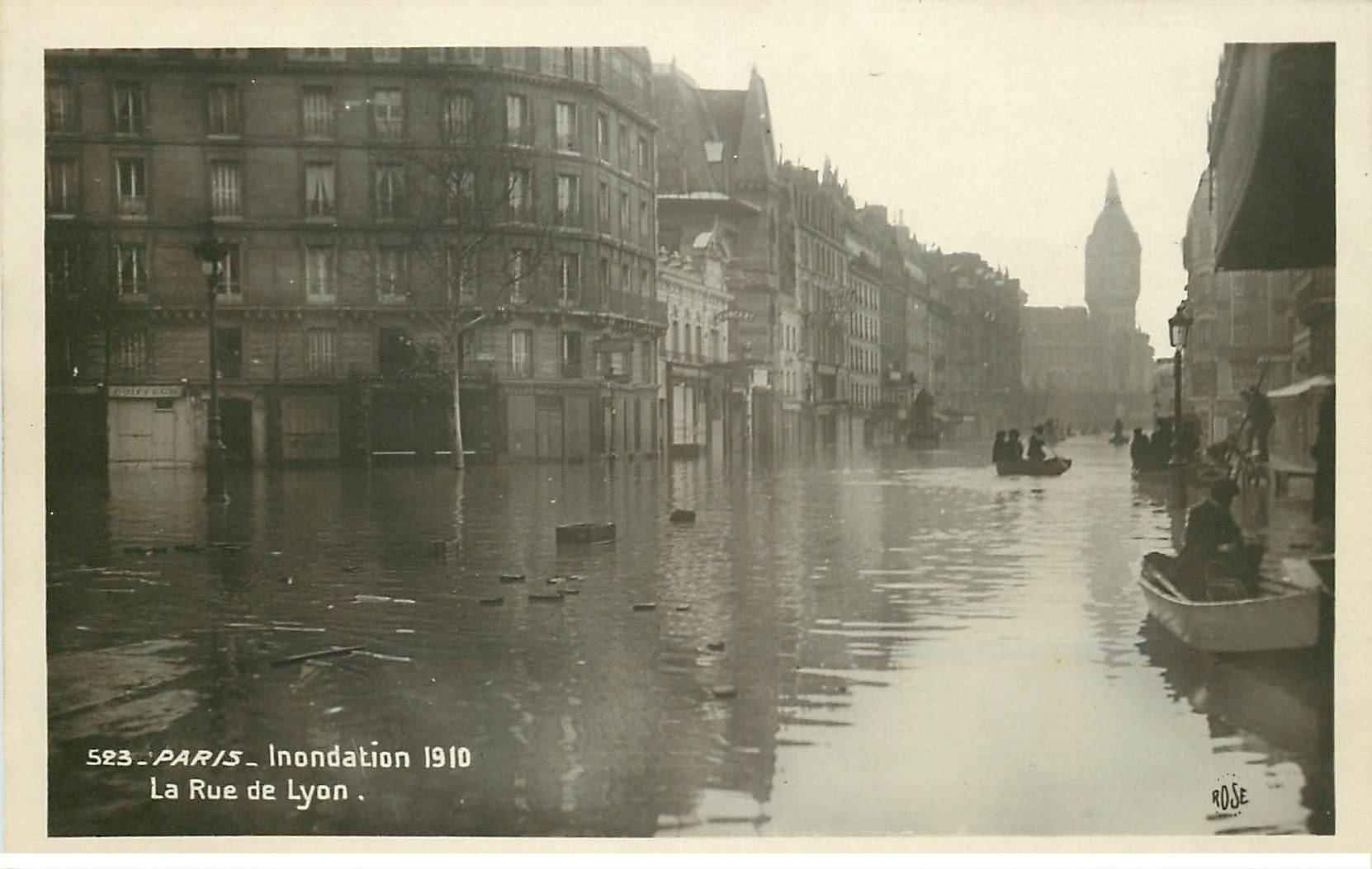 carte postale ancienne INONDATION ET CRUE PARIS 1910. Rue de Lyon 523
