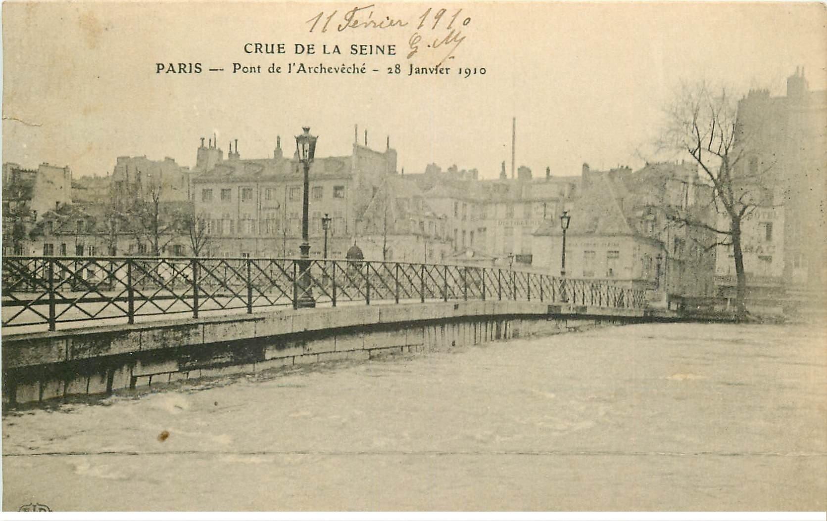 carte postale ancienne INONDATION ET CRUE PARIS 1910. Pont Archevêché