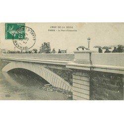 carte postale ancienne INONDATION ET CRUE PARIS 1910. Pont Austerlitz