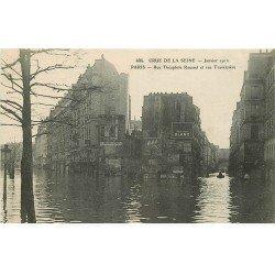 carte postale ancienne INONDATION ET CRUE PARIS 1910. Rue Roussel et Traversière