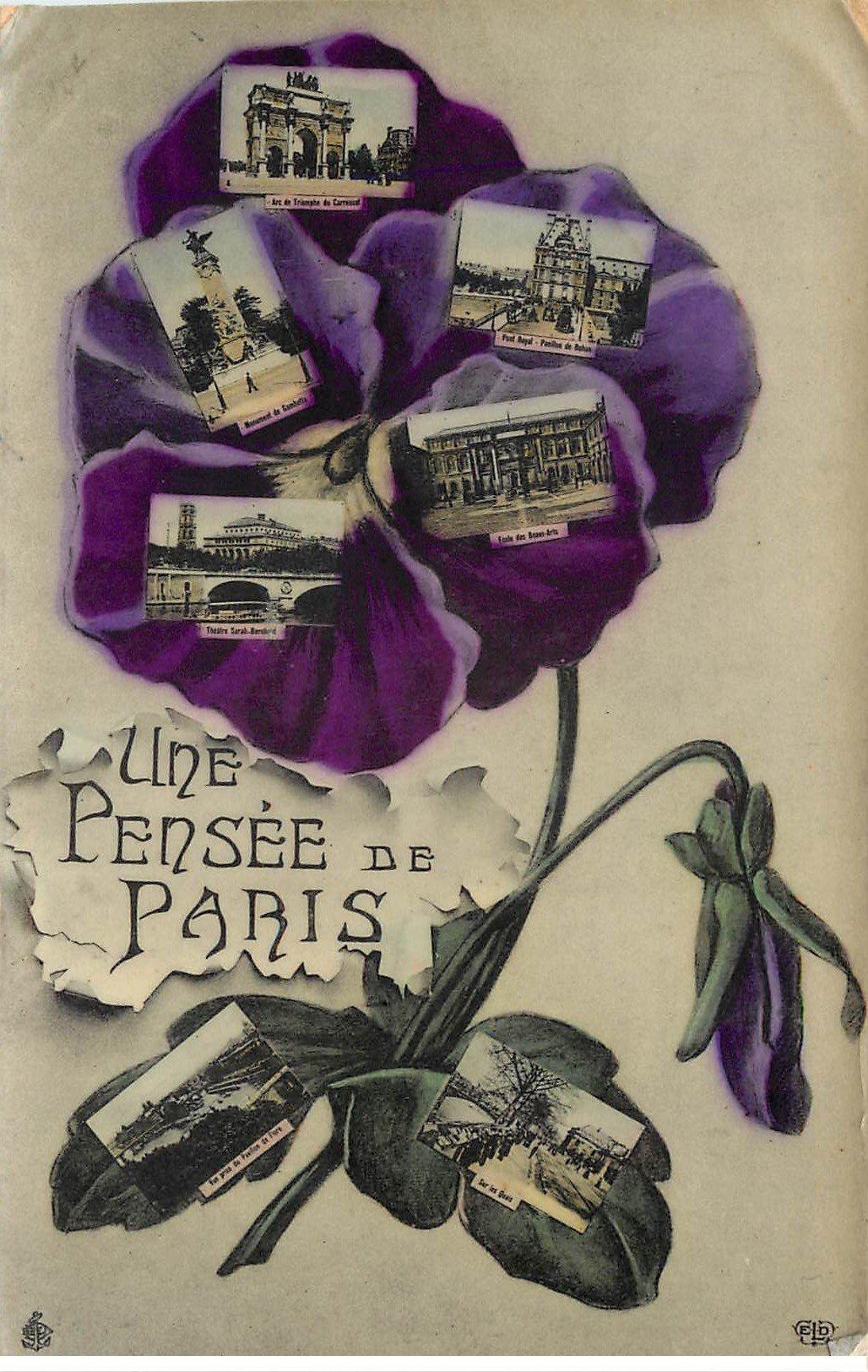 carte postale ancienne 75 PARIS Fantaisie . Carte multivues et Fleur 1907. Carte émaillographie (dico)