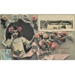 carte postale ancienne 75 PARIS Fantaisie . Carte multivues Fillette et Fleurs 1908. Carte émaillographie (dico) ELD