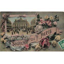carte postale ancienne 75 PARIS Fantaisie . Carte montage Opéra et Fleurs 1908. Carte émaillographie (dico) ELD