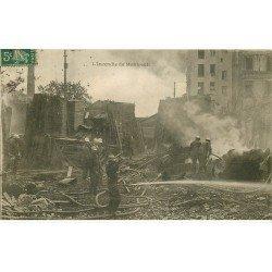 carte postale ancienne K. 75 PARIS XI°. L'Incendie avec Pompiers 1907 Rue de Montreuil et Titon