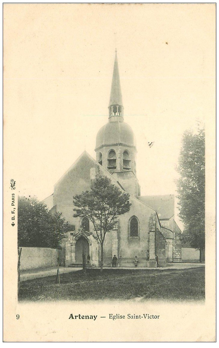 carte postale ancienne 45 ARTENAY. Eglise Saint-Victor 1905