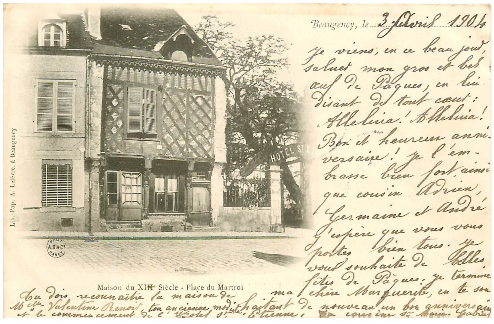 carte postale ancienne 45 BEAUGENCY. Place du Martroi 1904