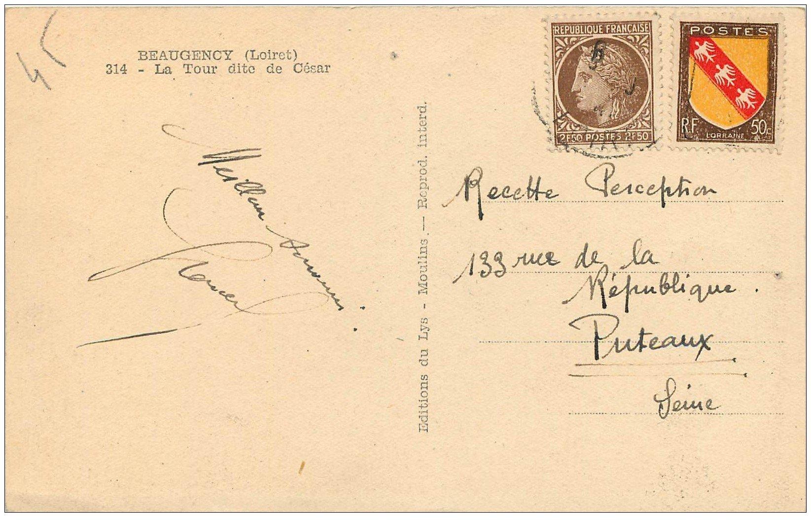 carte postale ancienne 45 BEAUGENCY. Tour de César. Deux beaux timbres 2.50 f et 50 centimes