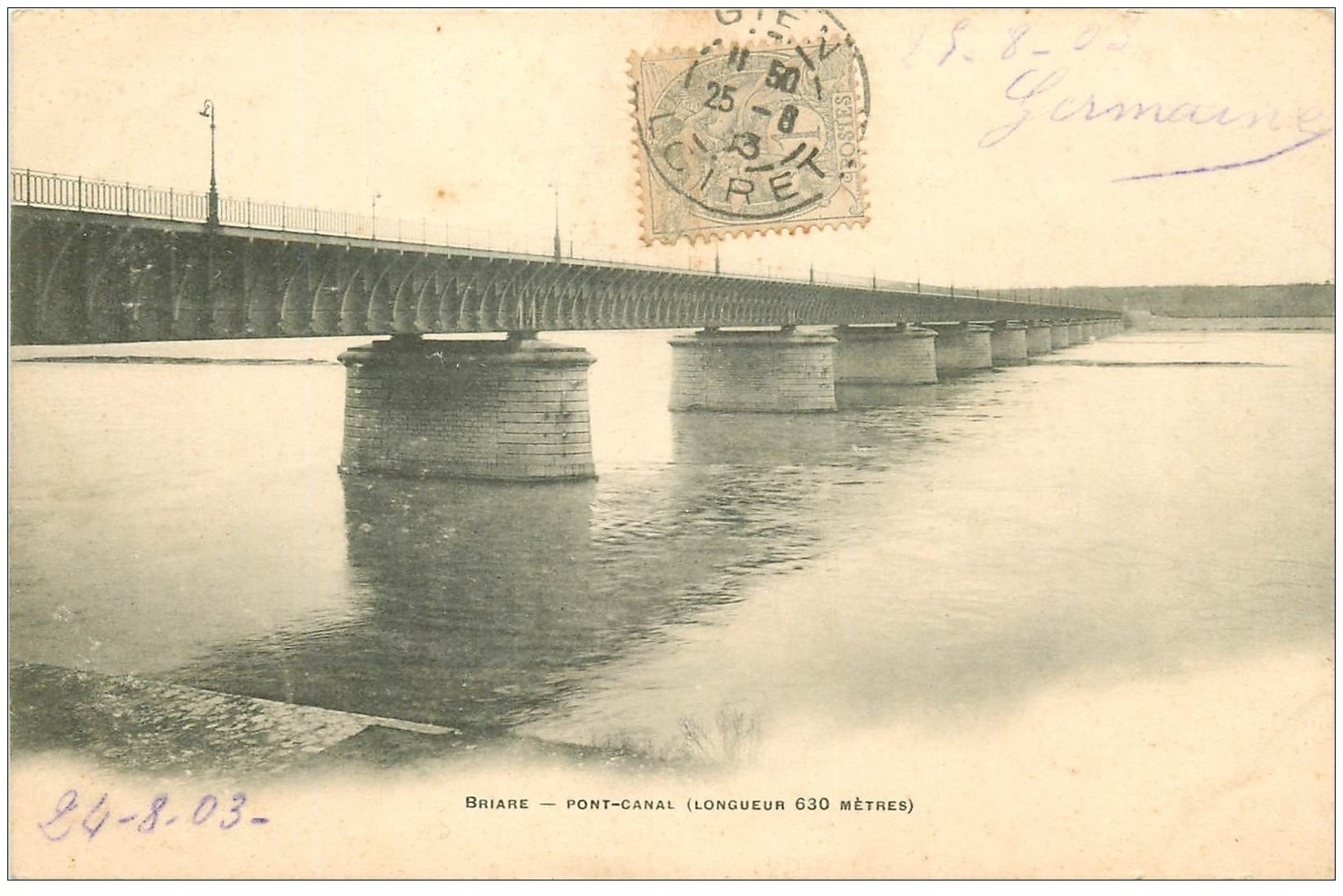carte postale ancienne 45 BRIARE. Pont Canal 1903