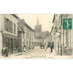 carte postale ancienne 10 VILLENAUXE. Boucher Rue de la Gare 1915