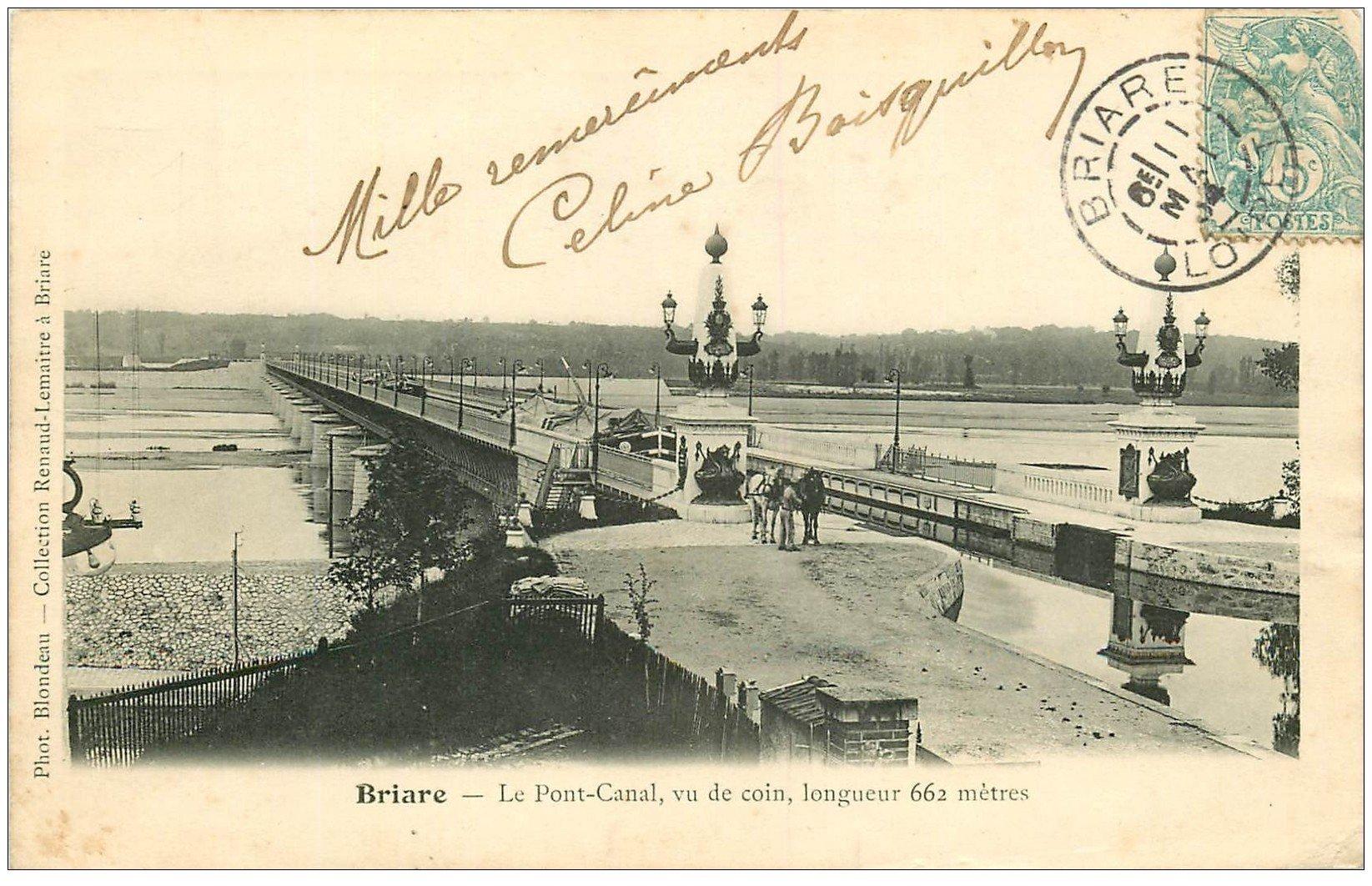 carte postale ancienne 45 BRIARE. Pont Canal 1904 avec Péniche dessus et Chevaux de trait