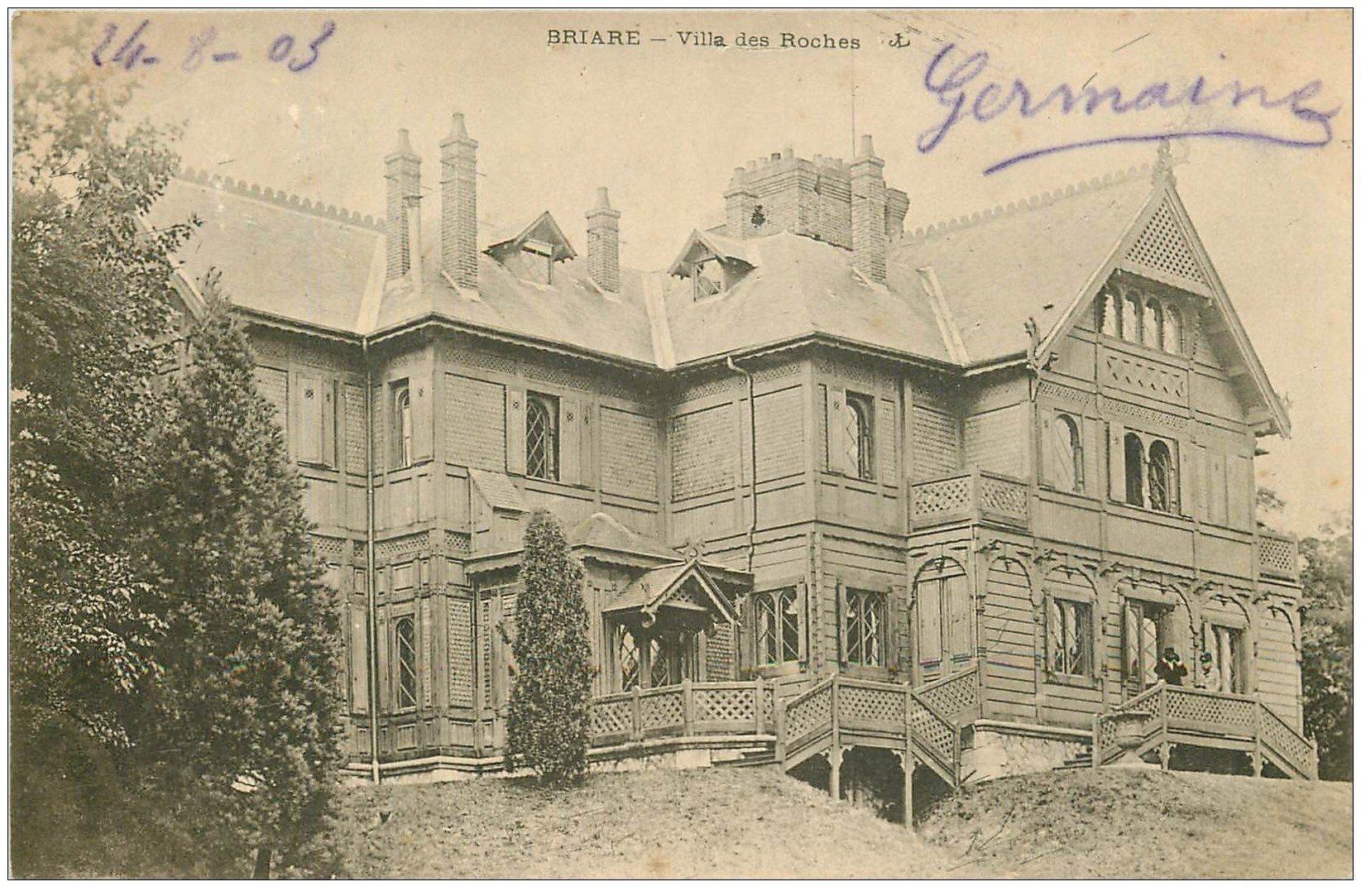 carte postale ancienne 45 BRIARE. Villa des Roches 1903. Beau Timbre 1 Centime