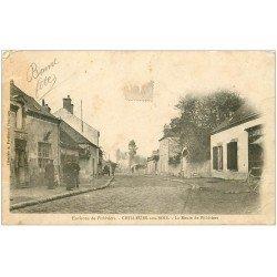 carte postale ancienne 45 CHILLEURS-AUX-BOIS. Charcuterie Route de Pithiviers. tampon Bazoches. En l'état...
