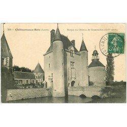 carte postale ancienne 45 CHILLEURS-AUX-BOIS. Château Chamerolles Donjon 1910. Tampon Bazoches