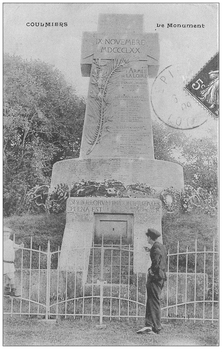 carte postale ancienne 45 COULMIERS. Le Monument 1909