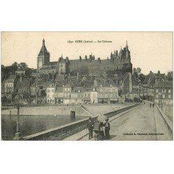 carte postale ancienne 45 GIEN. Le Château et le Pont 1919