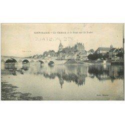 carte postale ancienne 45 GIEN. Le Château et le Pont 1922