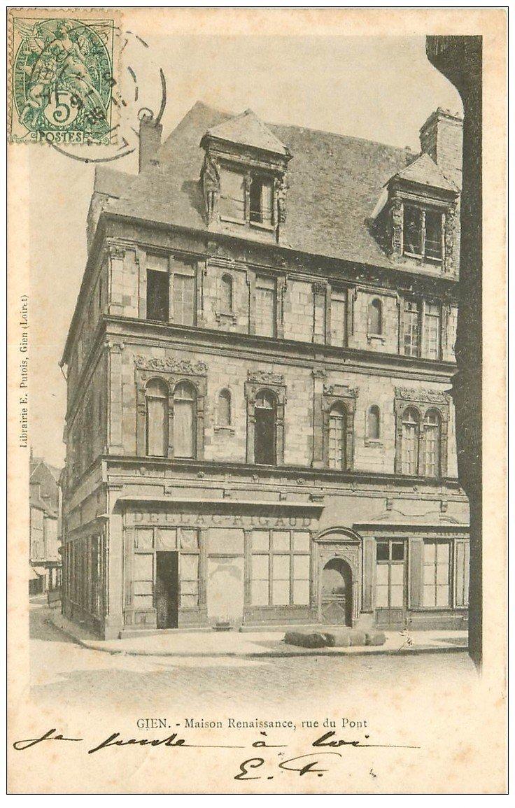 carte postale ancienne 45 GIEN. Maison Rue du Pont 1903
