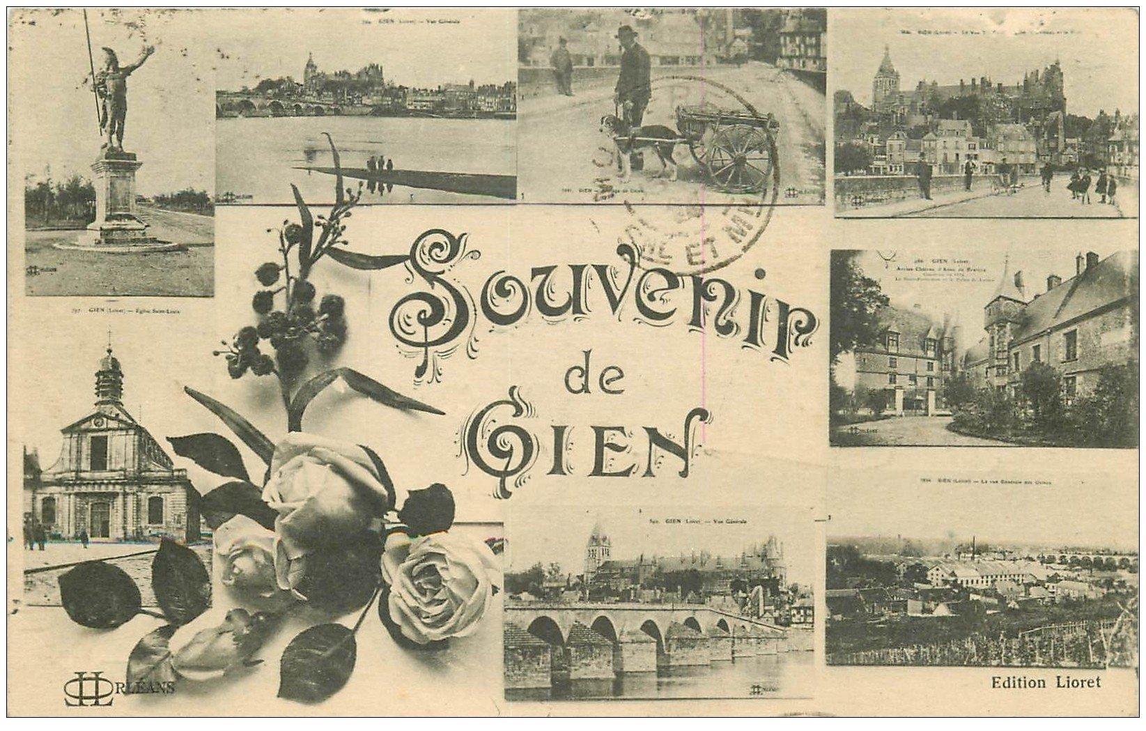 carte postale ancienne 45 GIEN. Souvenir 1924 avec Attelage de Chien