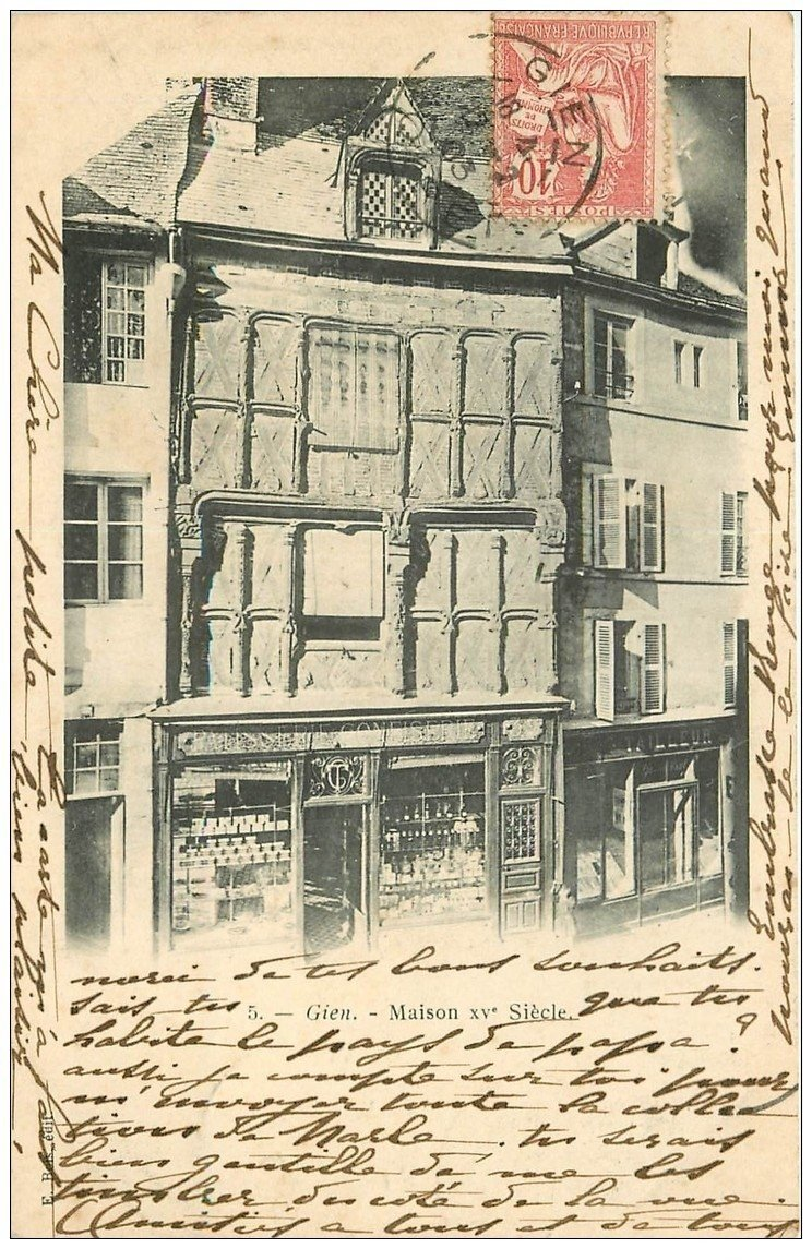 carte postale ancienne 45 GIEN. Vieille Maison 1903 Pâtisserie et Tailleur