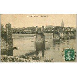 carte postale ancienne 45 JARGEAU. Pont suspendu 1911